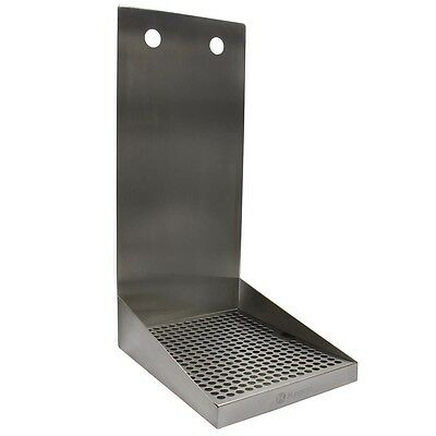 "Kegco SEWM-810-2 8"" Wall Mount Drip Tray with Drain - 2 Shank Holes"