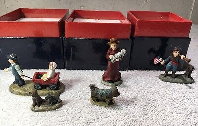 Liberty Falls Villages Accessories Lot Of 5 Pieces (3 Boxes) Miniature Dogs +++