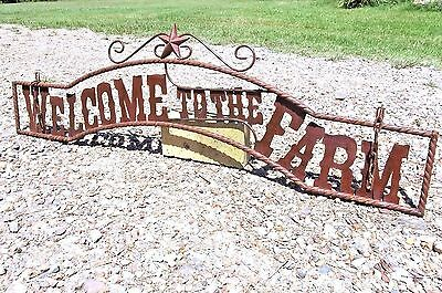 Large Metal Welcome to the FARM Hanging Entry Sign Gate 44 3/4""