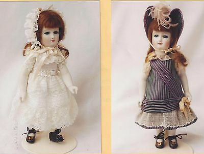 """7""""antique French All Bisque Doll Dress/hat/nightgown/shoes&socks&undies Pattern"""