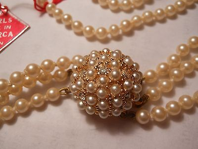 HOBE Vintage 3 Strand Majorca Pearl NECKLACE Beehive & Pearl Rhinestone Clasp