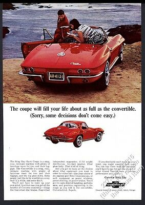 1965 Chevrolet Corvette red convertible and red coupe car photo vintage print ad
