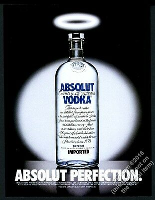 1998 Absolut Perfection vodka bottle with halo photo vintage print ad