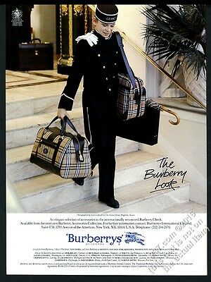1987 Bueberrys plaid luggage Lord Lichfield bellboy photo vintage print ad