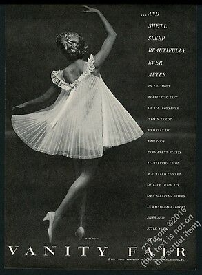 1955 Vanity Fair lingerie woman in pleated lace fashion photo vintage print ad