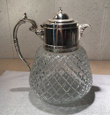 Antique Cut Glass Silverplate Ice Water Pitcher: With a silverplate Lid Stunning