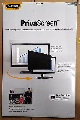 "Fellowes PrivaScreen Blackout Privacy Filter - 24"" Wide New"