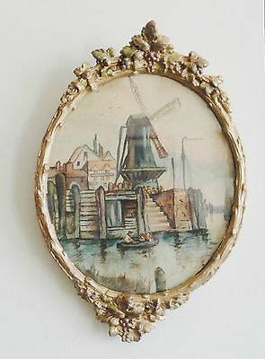"""Antique Oval Wood Gold Gesso Frame With Old Watercolor """"holland"""" Under Glass"""
