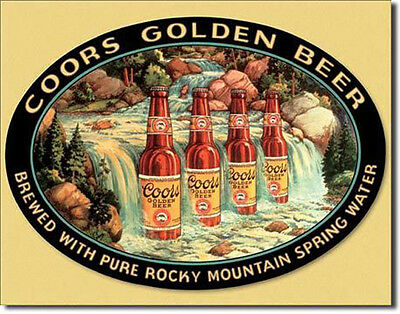 Coors Beer Golden Waterfall Bar Metal Advertising Tin New Made in USA