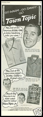 1948 vintage ad for Town Topic Men's Shirts