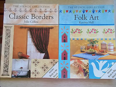 2 x The Stencil Collection~Classic Borders & Folk Art~1997/2000~P/Bs