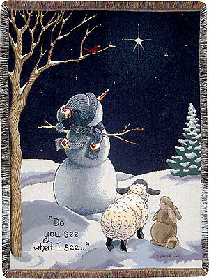 Do You See What I See ~ Snowman Lamb Rabbit Christmas Tapestry Afghan Throw