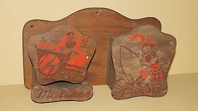 Vintage Wood Dutch Boy & Girl Wall Hanging Matches And Twine Holder