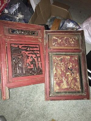 Vintage Old Chinese Gilt & Red Painted Wood Figural Panel Beautiful Carving