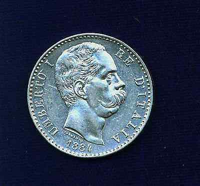 Italy Kingdom Umberto I 1884-R 2 Lire Silver Coin, Uncirculated