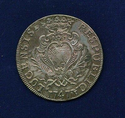 "Italy Tuscany Lucca  1747  ""scudo""  Silver Coin, Xf+"