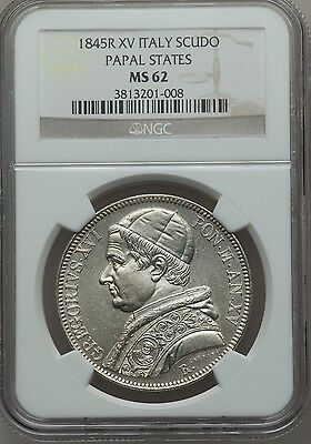 Italy Papal States 1845  1 Scudo Silver Coin Uncirculated, Certified Ngc Ms62