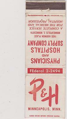 P & H Supply-Minneapolis Matchbook Cover Free Shipping U.s