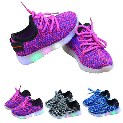 Hot Children Boys Girls Fashion LED Light Up Luminous Sneakers Kids Running shoe