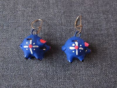 Vintage Cute Hand Painted Pottery Piggy Bank Pig Shaped Earrings