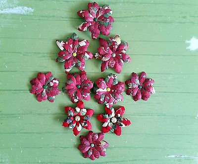10 x Handmade Christmas Paper Flowers  Mix #4 - Perfect for Scrapbooking, Cards