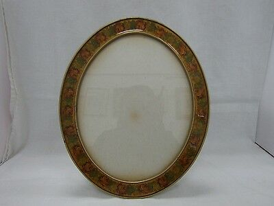 """Large Heavy Round Gold tone Picture Frame W/ Floral Enamel Detail 12"""" x 10"""""""