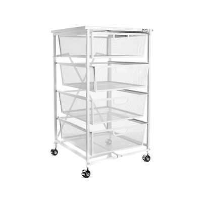 Origami 4-Drawer Kitchen Cart with Wood Shelf White NEW