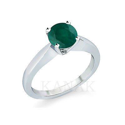 1.00 Ct Round Cut Emerald Solitaire Engagement Wedding Ring 10k Solid White Gold
