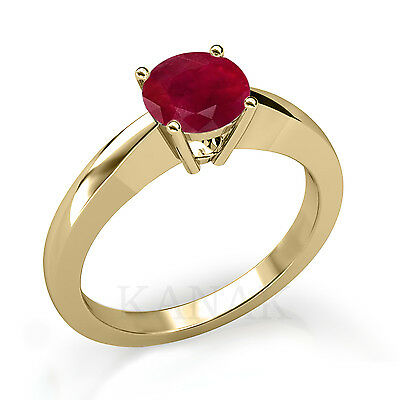 1.00 CT Round Cut Ruby Solitaire Engagement Ring in 10k Solid Yellow Gold