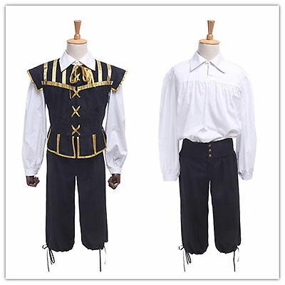 Men Medieval Renaissance Costume Cosplay Pirate Clothing Coat+Shirt+Pants
