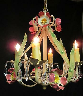 Petit Franch Style Tole Chandelier w/Flowers - 4 Lights - Prisms - 12 x 12
