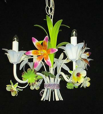 Fab. Antique White Tole Chic Chandelier w/Painted Flowers Lilies - 4 Lites 18""