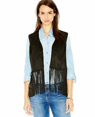 WILDFLOWER Size Small S Womens NEW Black Faux-Suede Vest Fringed $119 #J3