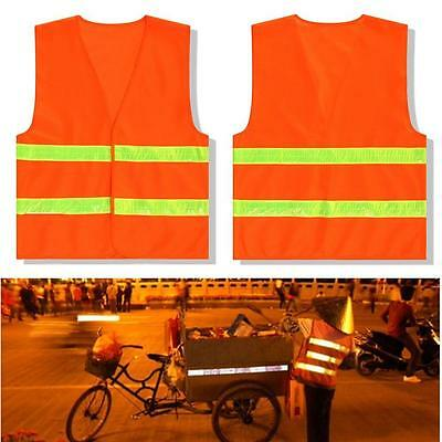 Neon Orange Safety Vest Reflective Tape Strips High Visibility ANSI ISEA Wear TS