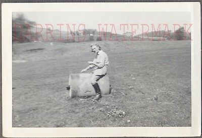 Vintage 1941 Photo Pretty Equestrian Girl Barrel Riding 724600