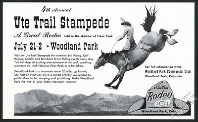 1951 Ute Trail Stampede rodeo Woodland Park Colorado horse photo print ad