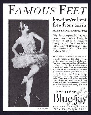 1928 Mary Eaton photo Blue Jay corn remover vintage print ad