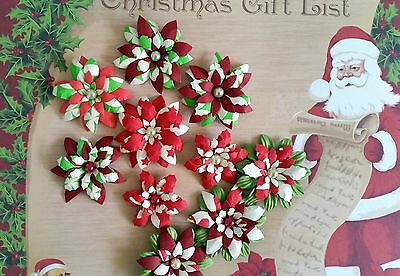 10 x Handmade Christmas Paper Flowers  Mix #9 - Perfect for Scrapbooking, Cards