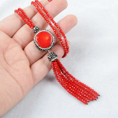 """1Pcs 27"""" CZ Paved Red Coral Necklace With Red Quartz Beads Tassels Chain HJA404"""