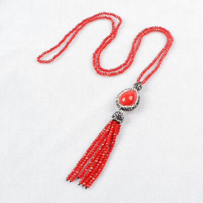 "1Pcs 28"" CZ Paved Red Shell Pearl Necklace With Quartz Beads Tassel Chain HJA405"