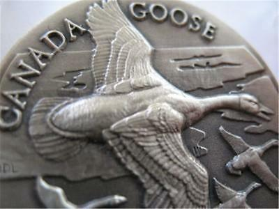 1+ .925 Oz Longines Wildlife Sterling Silver Canada Goose 3D Relief Coin+ Gold