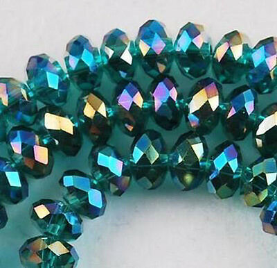 100 (±3) PCS, 4 X 6 mm Peacock Green Rainbow Crystal Faceted Abacus Loose Beads