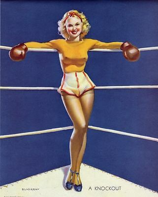 """RETRO PINUP CANVAS PRINT 24X16"""" Poster Gil Elvgren Sexy Boxing Girl Knockout"""