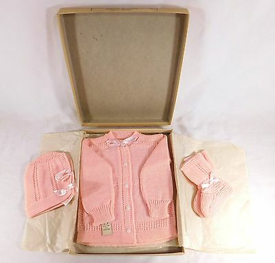 ADORABLE Vintage Baby Infant Knit Pink Wool Sweater Booties & Hat - Never Worn!