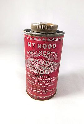 Antique Vtg MT. HOOD Tooth Powder Tin Container Made in Hood River OR Pharmacy