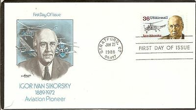 Aviation Helicopter Designer Russian Igor Sikorsky Airmail Artmaster Cachet Fdc