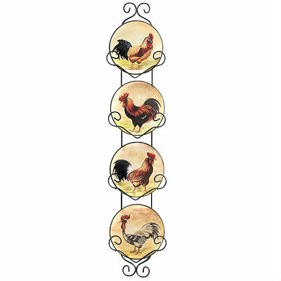 Ceramic Rooster Display Plate Set with Rack