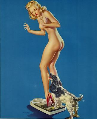 """RETRO PINUP GIRL CANVAS PRINT Poster Gil Elvgren Pleasing discovery 24X16"""""""