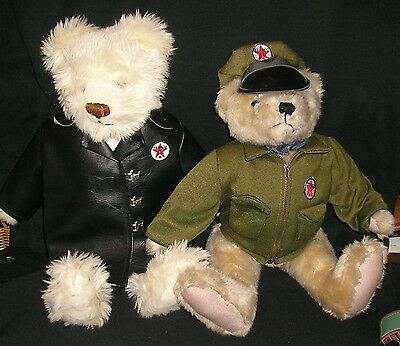 Texaco Oil Gasoline Gas Station Advertising Plush Teddy Bears Jointed Vintage