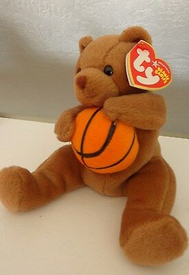 New  - Ty Beanie Baby ~ HOOPS the Basketball Bear ~  with MINT TAGS ~ RETIRED